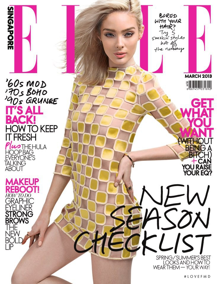 Lucy McIntosh featured on the Elle Singapore cover from March 2013