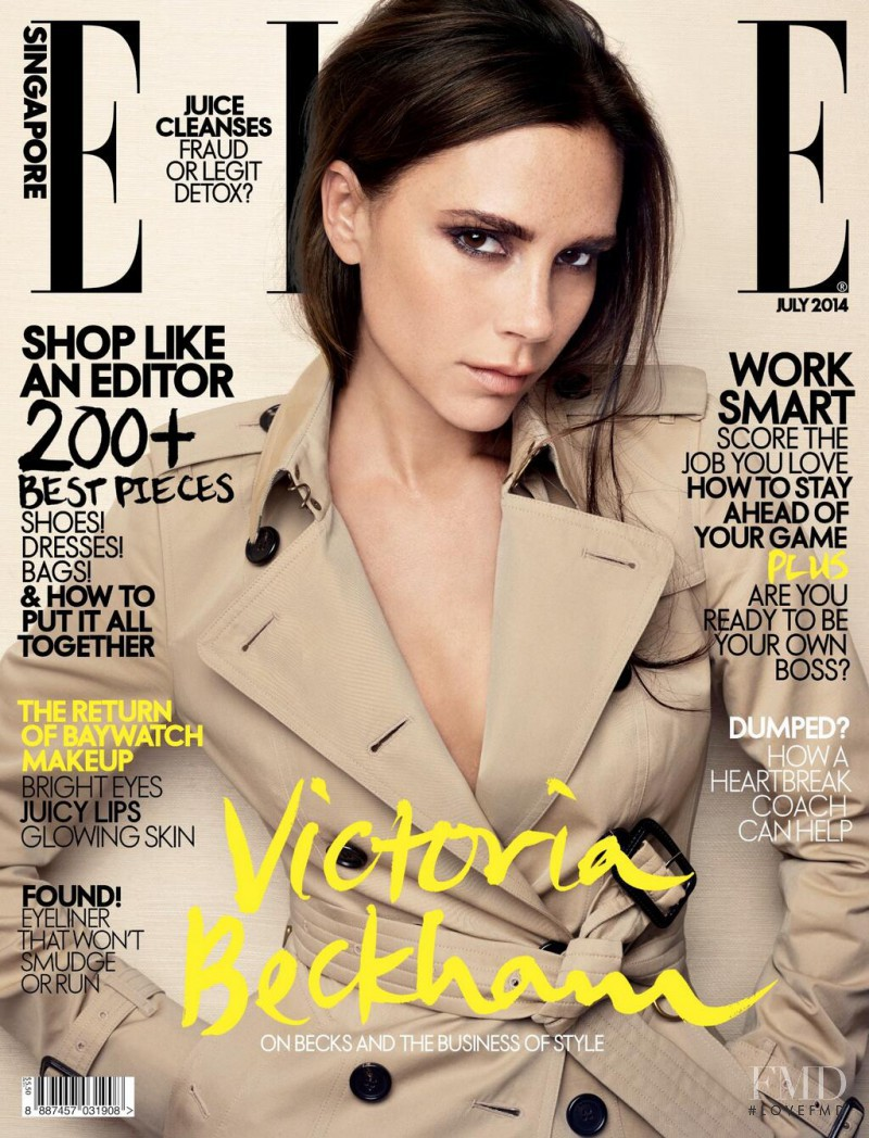Victoria Beckham featured on the Elle Singapore cover from July 2014