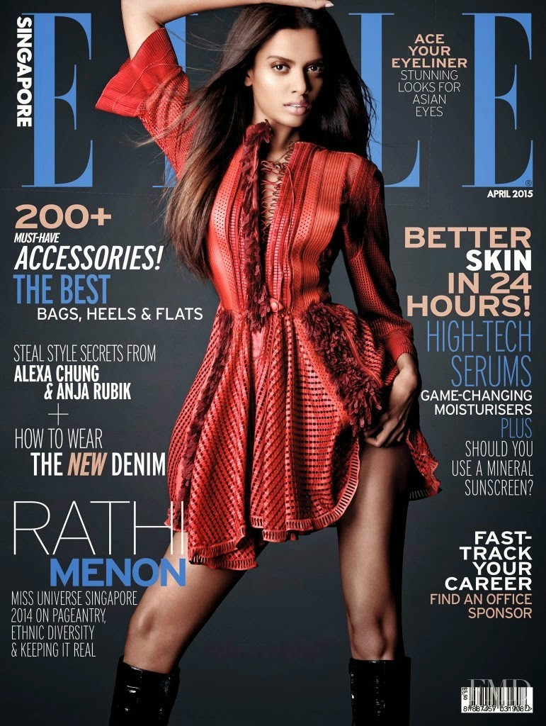Rathi Menon featured on the Elle Singapore cover from April 2015