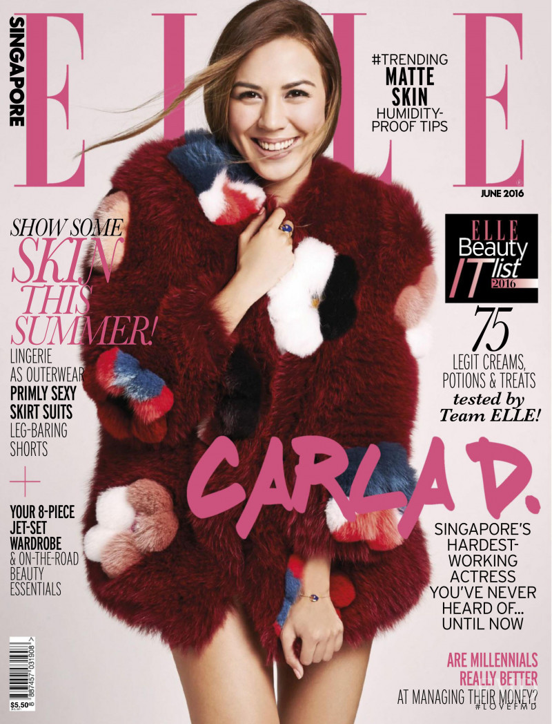 Carla Dunareanu featured on the Elle Singapore cover from June 2016