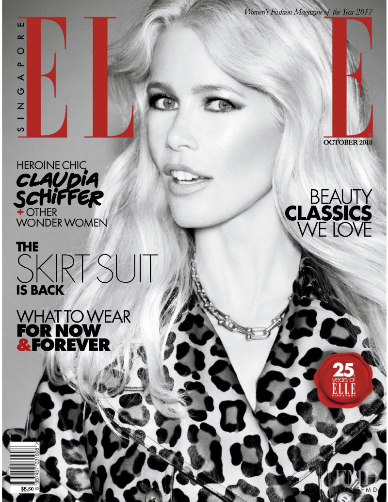 Claudia Schiffer featured on the Elle Singapore cover from October 2018