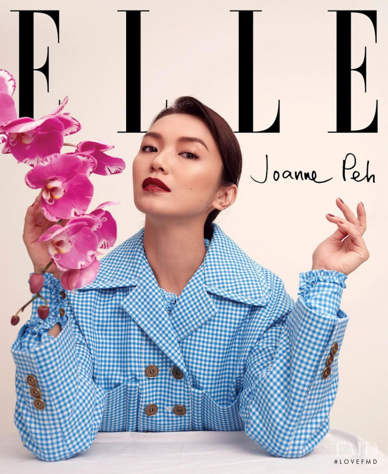 Joanne Peh featured on the Elle Singapore cover from August 2020