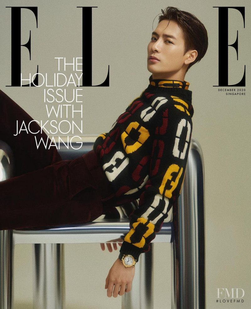 Jackson Wang featured on the Elle Singapore cover from December 2020
