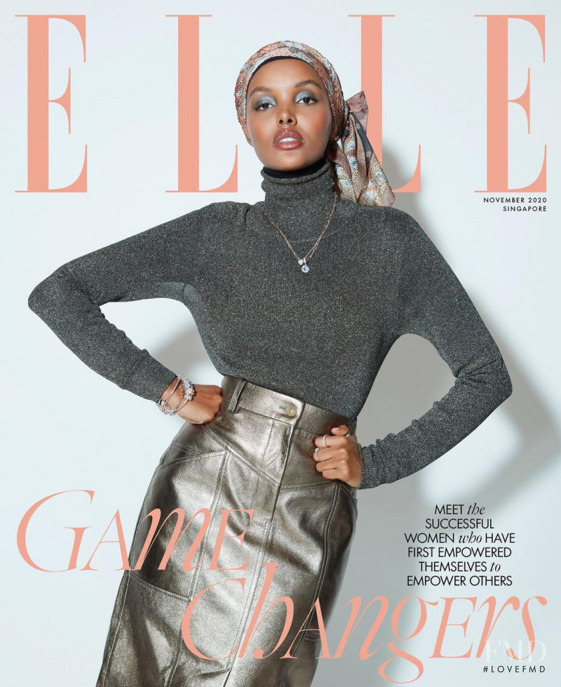 Halima Aden featured on the Elle Singapore cover from November 2020