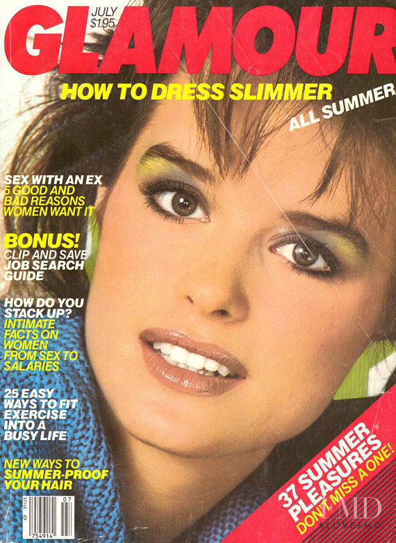 Jacki Adams featured on the Glamour USA cover from July 1984
