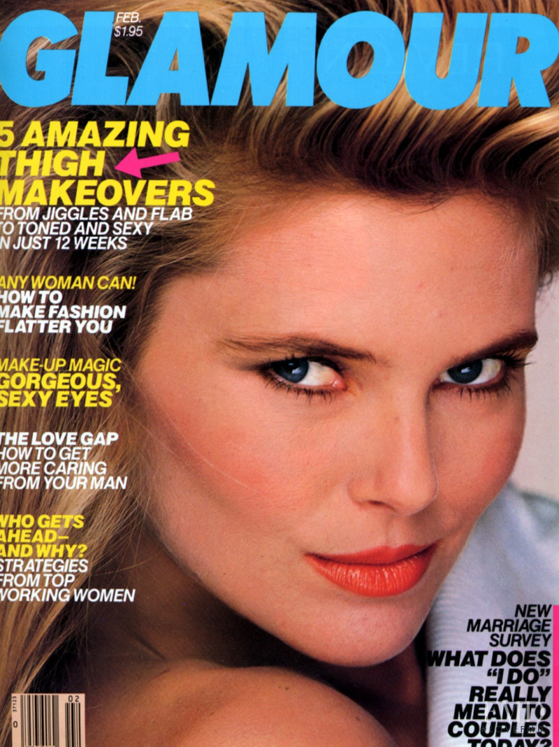 Kelly Emberg featured on the Glamour USA cover from February 1985
