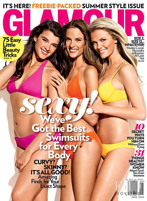 Alessandra Ambrosio, Brooklyn Decker, Crystal Renn featured on the Glamour USA cover from June 2010