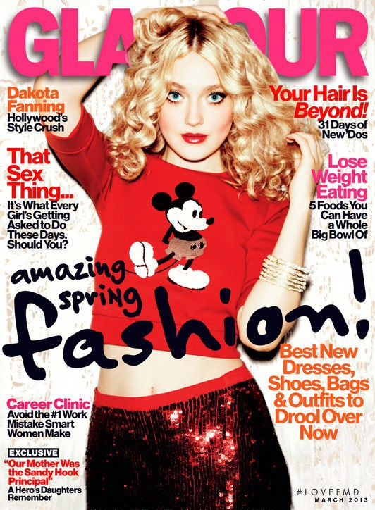 Dakota Fanning featured on the Glamour USA cover from March 2013