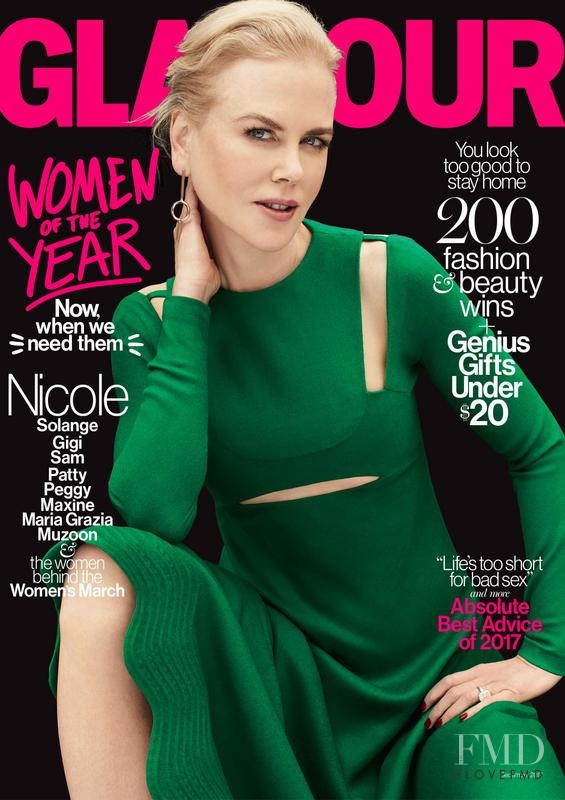 Nicole Kidman featured on the Glamour USA cover from December 2017