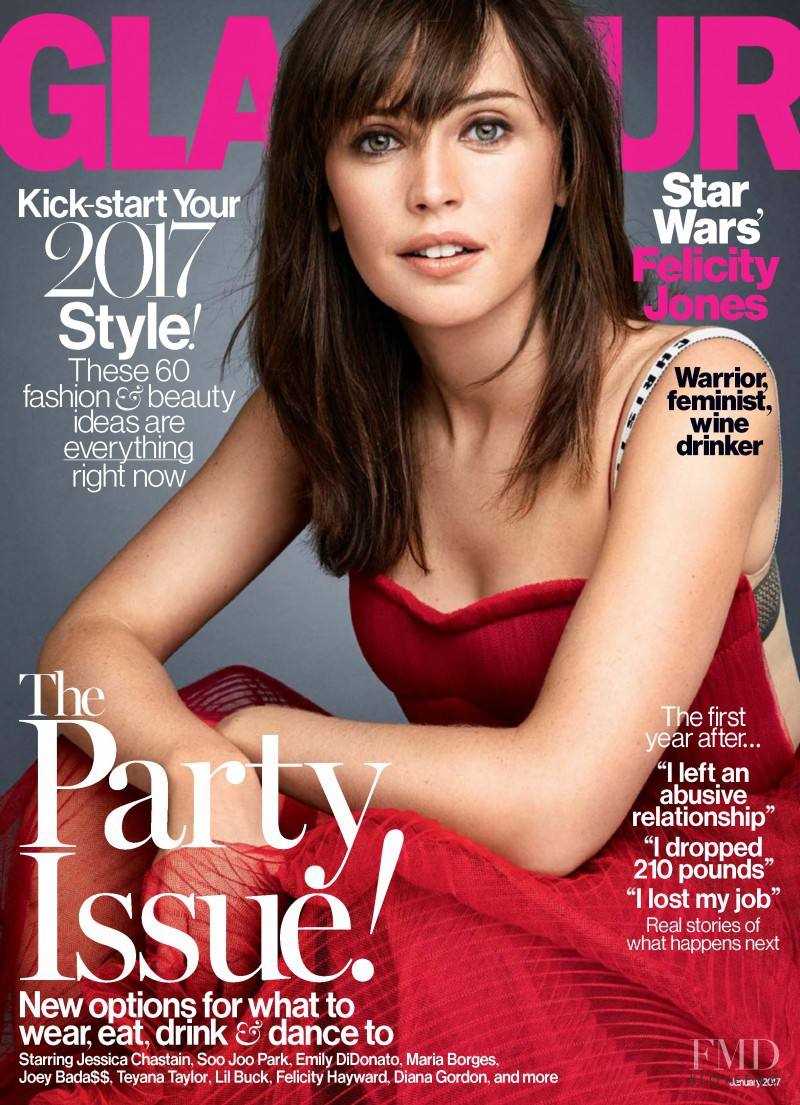 Felicity Jones featured on the Glamour USA cover from January 2017