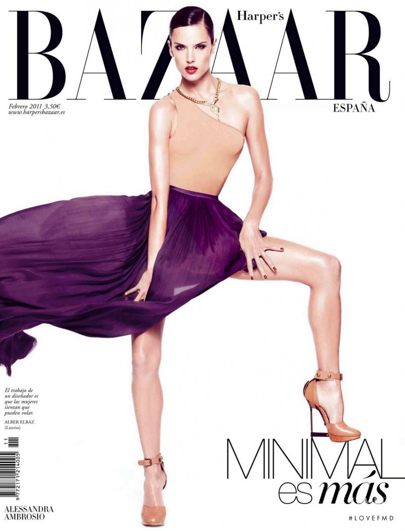 Alessandra Ambrosio featured on the Harper\'s Bazaar Spain cover from February 2011
