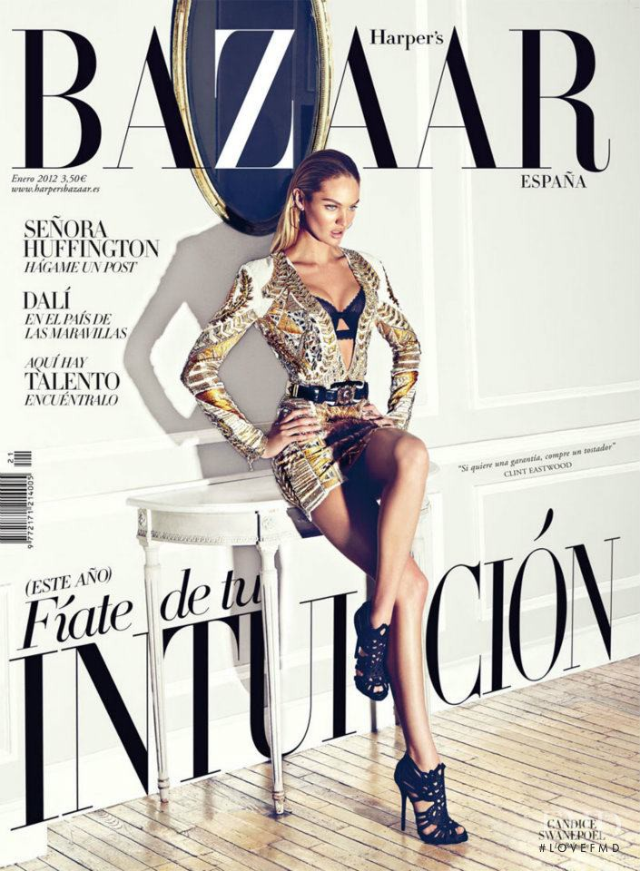 Candice Swanepoel featured on the Harper\'s Bazaar Spain cover from January 2012