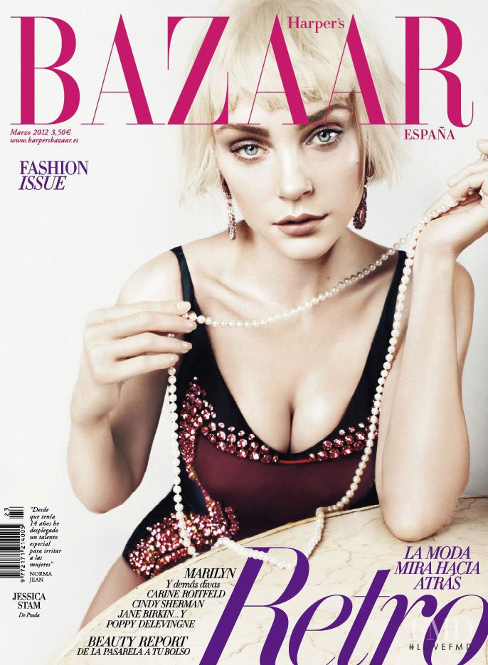 Jessica Stam featured on the Harper\'s Bazaar Spain cover from March 2012