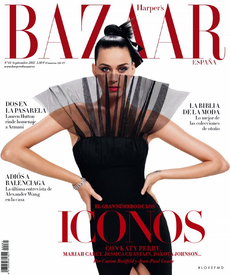 Katy Perry featured on the Harper\'s Bazaar Spain cover from September 2015