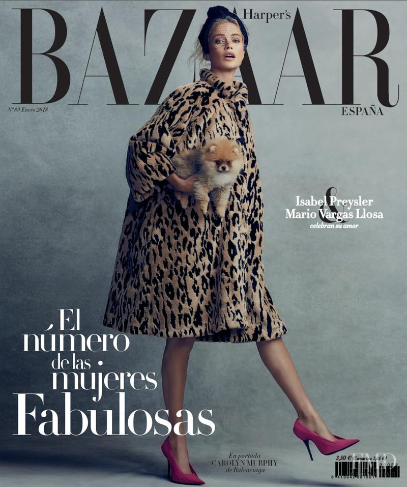 Carolyn Murphy featured on the Harper\'s Bazaar Spain cover from January 2018
