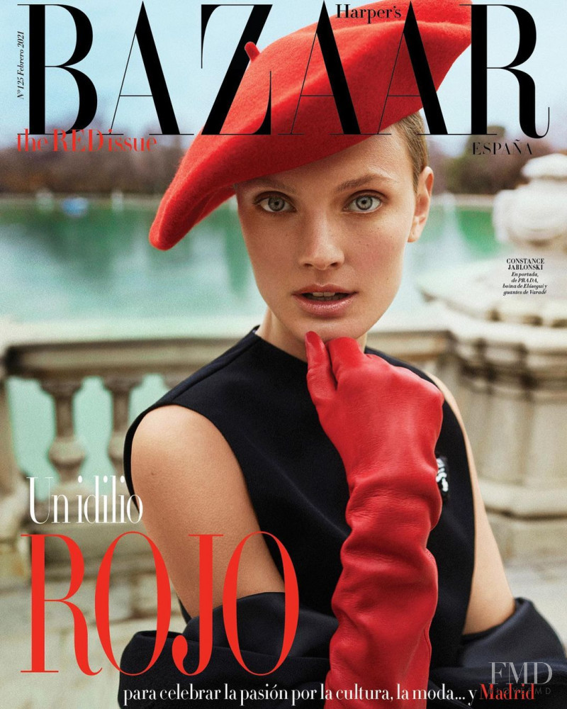 Constance Jablonski featured on the Harper\'s Bazaar Spain cover from February 2021