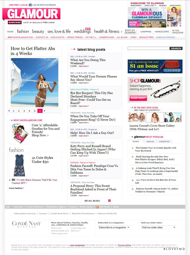 featured on the glamour.com cover from April 2010