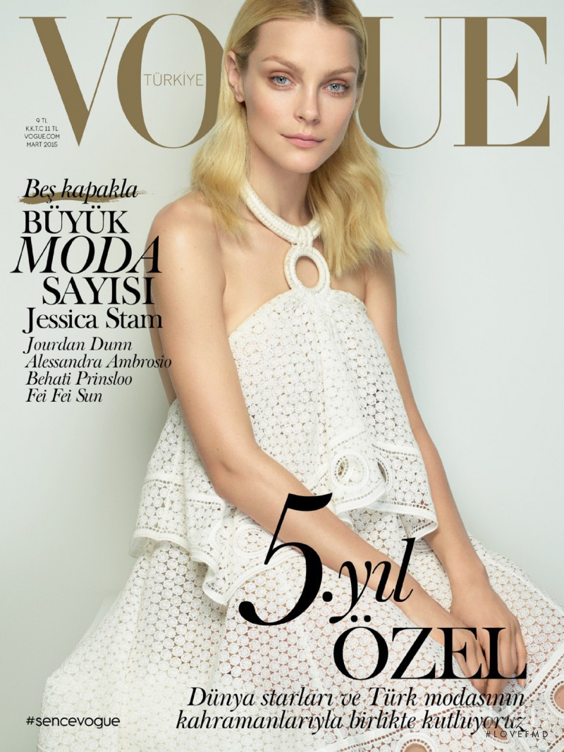 Jessica Stam featured on the Vogue Turkey cover from March 2015