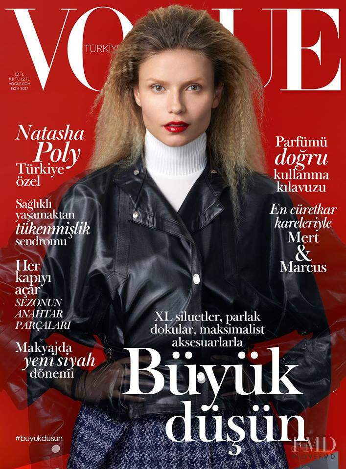 Natasha Poly featured on the Vogue Turkey cover from October 2017