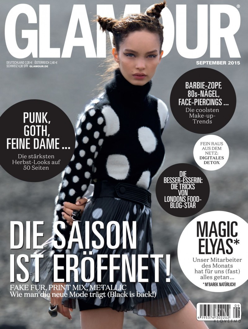 Luma Grothe featured on the Glamour Germany cover from September 2015
