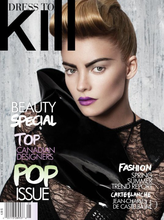 Elyse Taylor featured on the Dress To Kill Magazine cover from March 2010