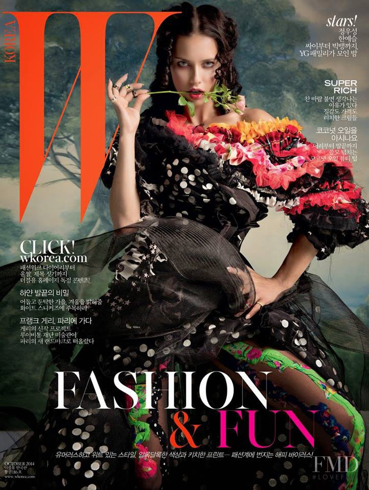 Adriana Lima featured on the W Korea cover from October 2014