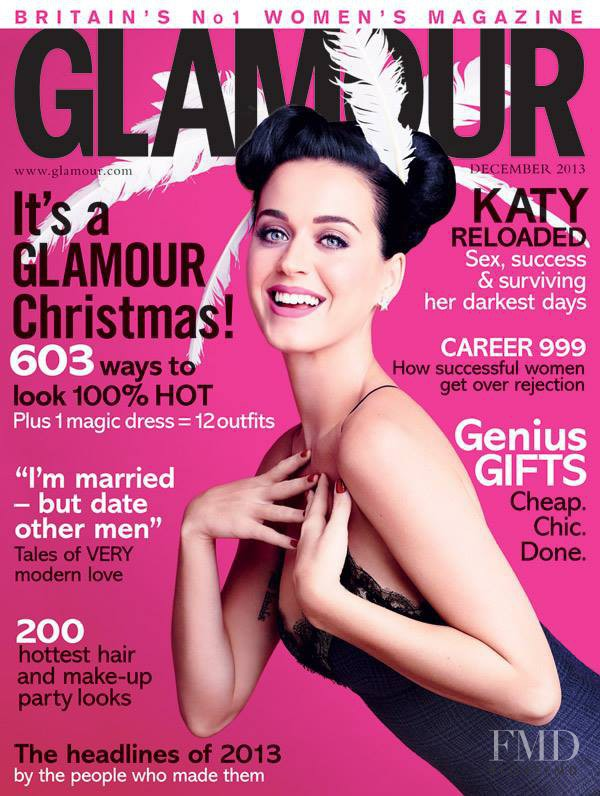 Katy Perry featured on the Glamour UK cover from December 2013