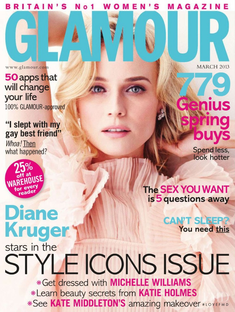 Diane Heidkruger featured on the Glamour UK cover from March 2013