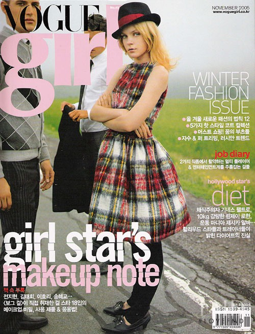 Jessica Stam featured on the Vogue Girl Korea cover from November 2005