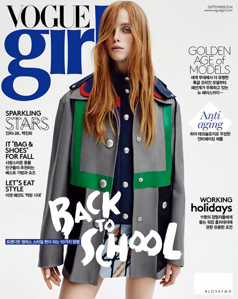 Rianne Van Rompaey featured on the Vogue Girl Korea cover from September 2014