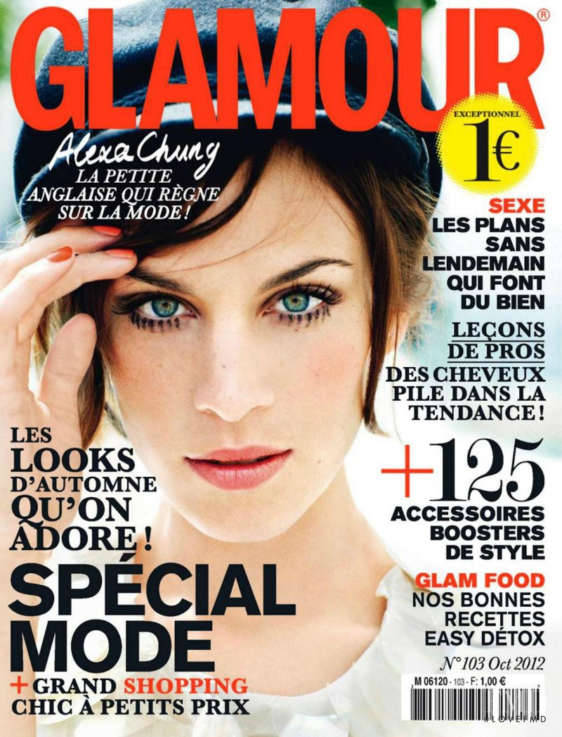 Alexa Chung featured on the Glamour France cover from October 2012