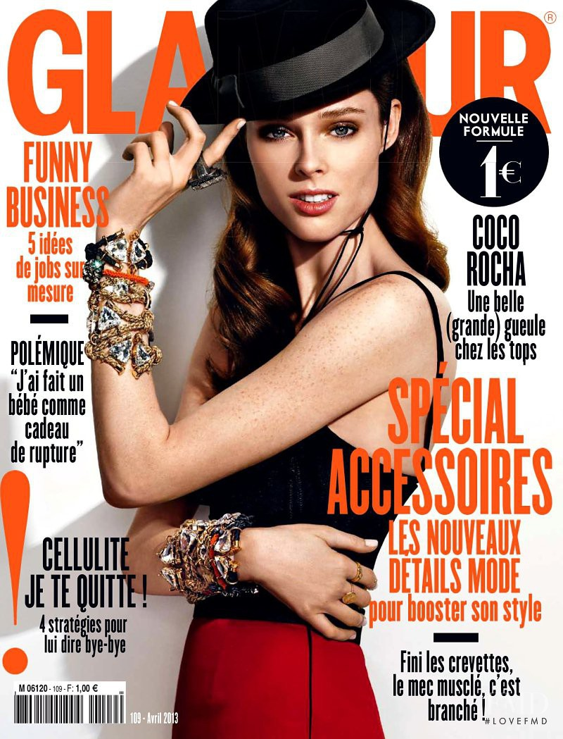 Coco Rocha featured on the Glamour France cover from April 2013