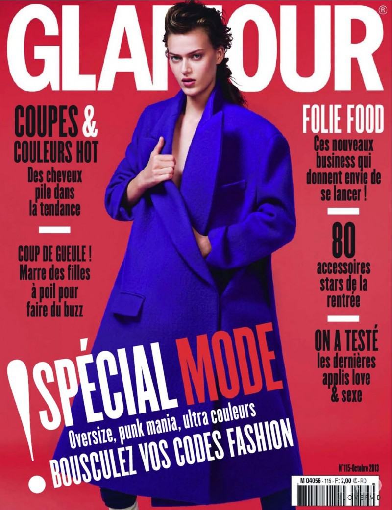 Tess Hellfeuer featured on the Glamour France cover from October 2013