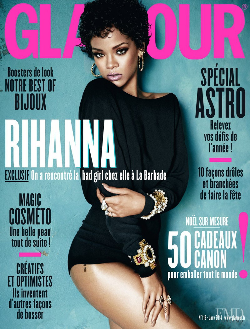 Rihanna featured on the Glamour France cover from January 2014