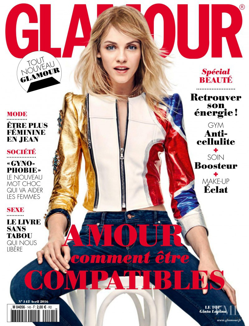 Ginta Lapina featured on the Glamour France cover from April 2016