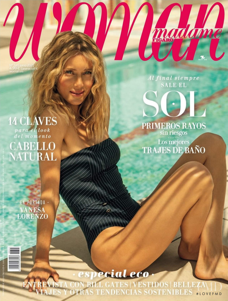 Vanessa Lorenzo featured on the Woman Madame Figaro Spain cover from June 2021