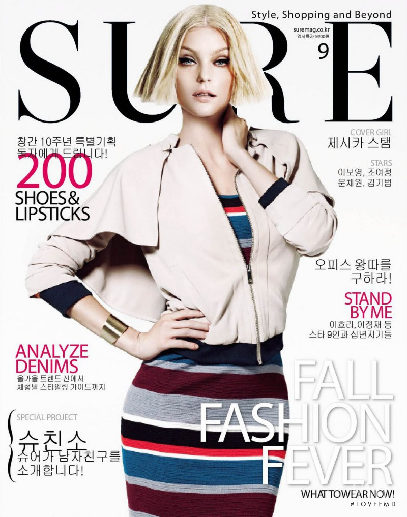 Jessica Stam featured on the Sure cover from September 2011