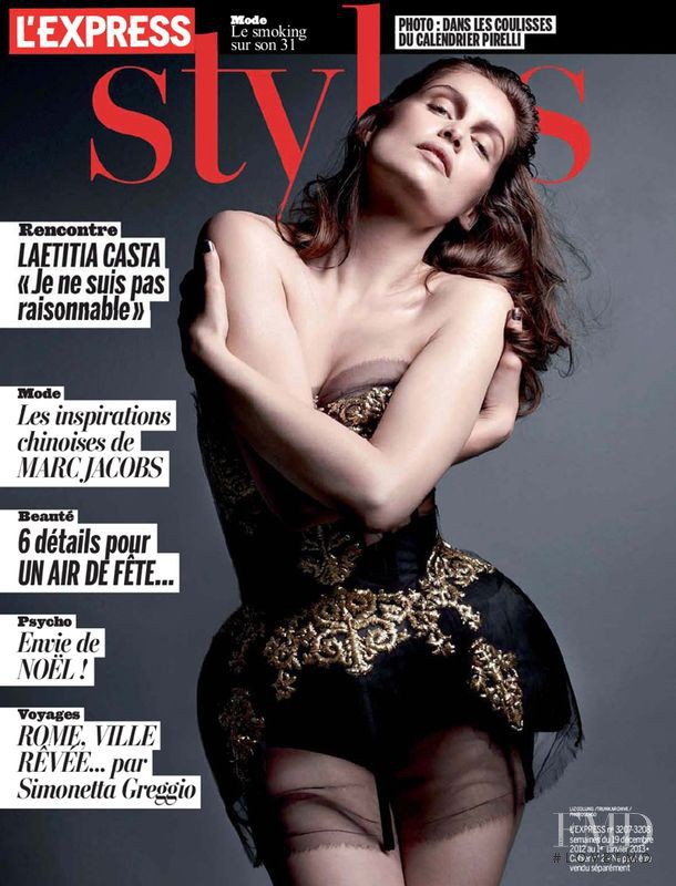 Laetitia Casta featured on the L\'Express Styles cover from December 2012