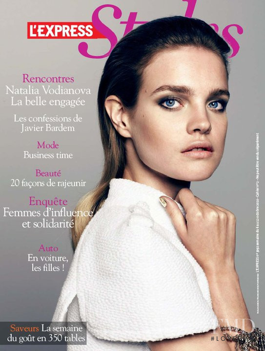 Natalia Vodianova featured on the L\'Express Styles cover from October 2010
