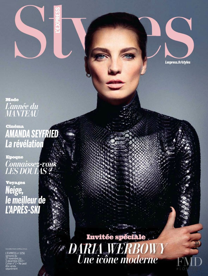 Daria Werbowy featured on the L\'Express Styles cover from November 2013
