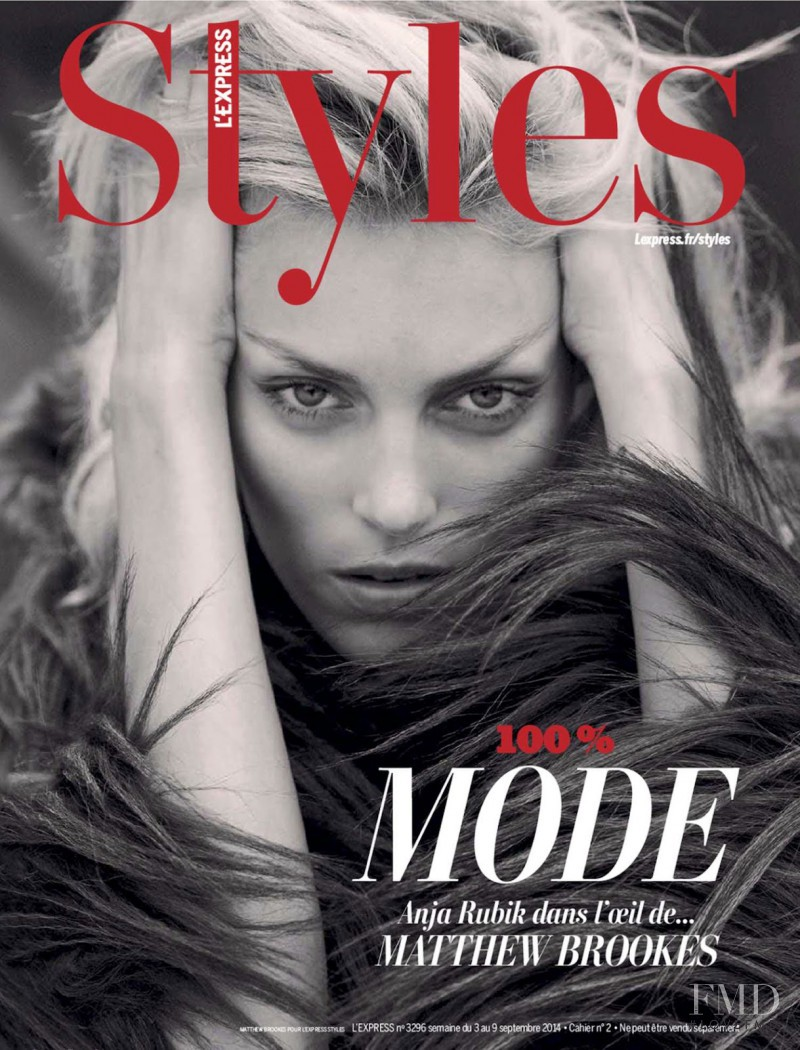 Anja Rubik featured on the L\'Express Styles cover from September 2014