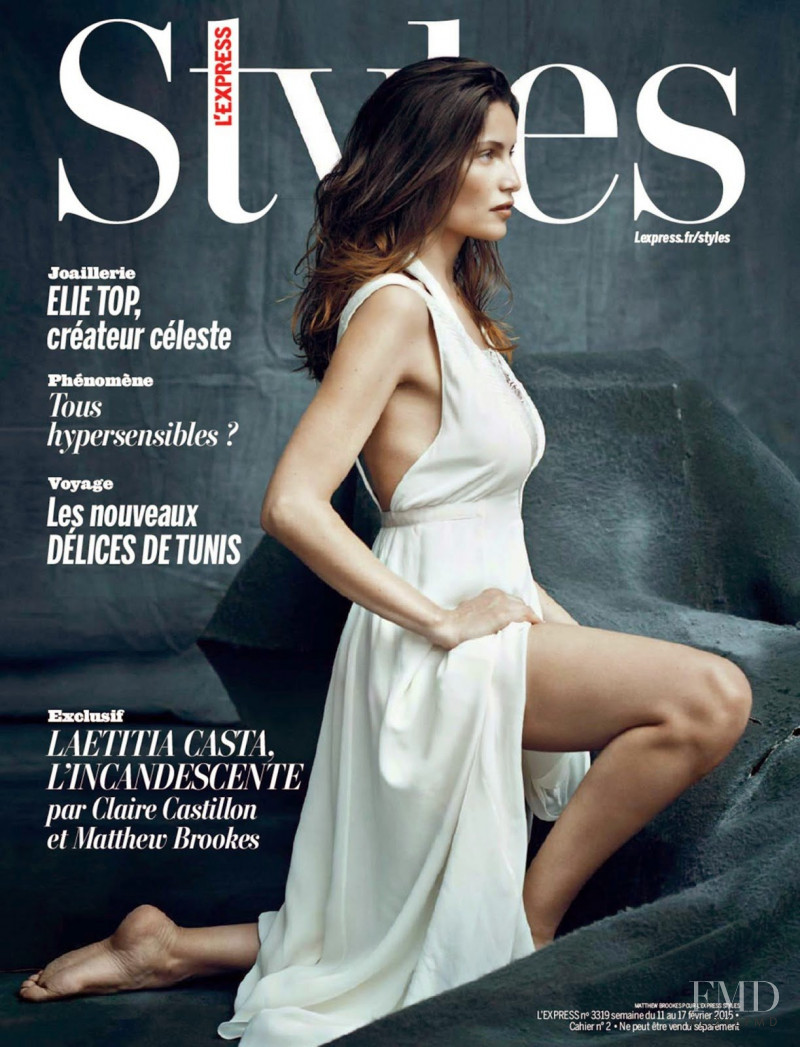 Laetitia Casta featured on the L\'Express Styles cover from February 2015