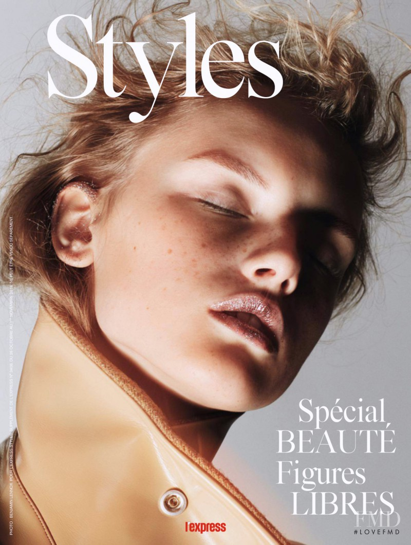 Dasha Dogusheva featured on the L\'Express Styles cover from October 2016
