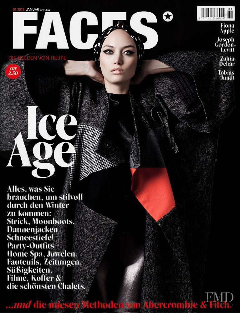 Trine Hyldtoft featured on the FACES Magazine cover from January 2013