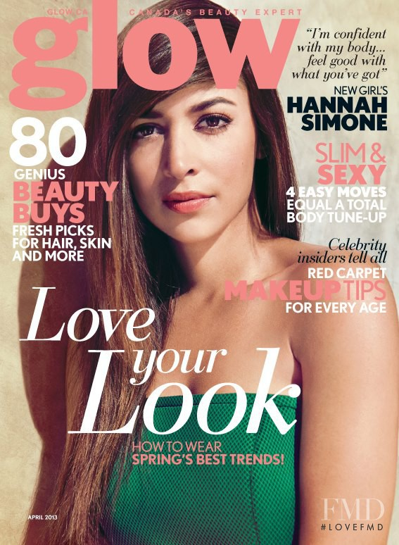 Hannah Simone featured on the Glow cover from April 2013