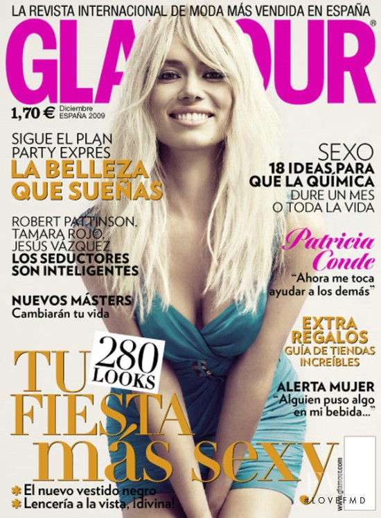 Patricia Conde featured on the Glamour Spain cover from December 2009