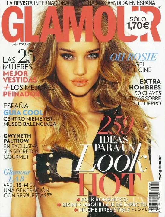 Rosie Huntington-Whiteley featured on the Glamour Spain cover from July 2011