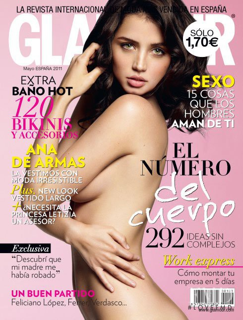 Ana de Armas featured on the Glamour Spain cover from May 2011