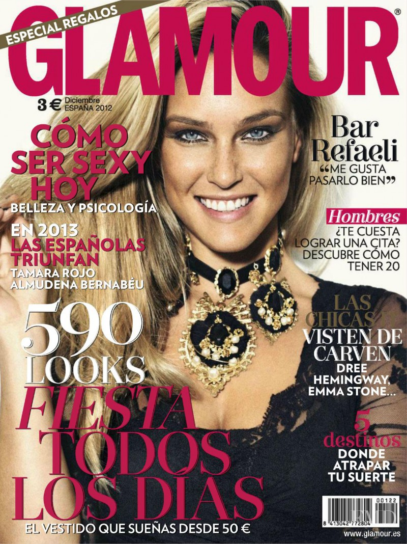 Bar Refaeli featured on the Glamour Spain cover from December 2012