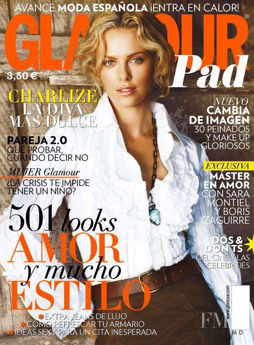 Charlize Theron featured on the Glamour Spain cover from February 2012